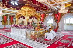 BANGKOK, THAILAND - DECEMBER 13, 2014: Beautiful interior of the Sikh temple in Bangkok, Thailand stock image