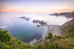 Gueirua beach. Bird's-eye view on the beach. Playa de Gueirua, Asturia, Spain Stock Photography