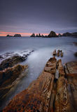 Gueirua beach at sunset. Asturias, Spain. Royalty Free Stock Images
