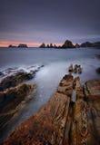 Gueirua beach at sunset. Asturias, Spain. Stock Photos