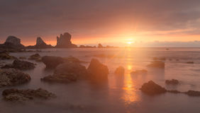 Gueirua beach at sunset. Asturias, Spain. Royalty Free Stock Photos