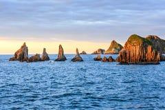 Gueirua plaża przy wieczór Hiszpanii asturii Obrazy Stock