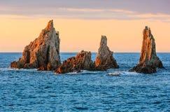 Gueirua plaża przy wieczór Hiszpanii asturii Obraz Stock