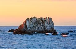 Gueirua plaża przy wieczór Hiszpanii asturii Fotografia Stock