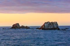 Gueirua plaża przy wieczór Hiszpanii asturii Obraz Royalty Free
