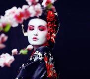 Gueixa consideravelmente real dos jovens no quimono com sakura e decoração sobre imagens de stock