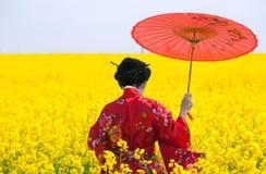 Gueixa no campo amarelo Fotos de Stock Royalty Free