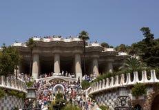 Guell公园吸引许多游人 库存照片