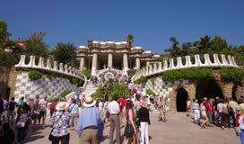 Guell公园在巴塞罗那,西班牙 免版税图库摄影