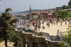 Guell公园巴塞罗那Catalunia西班牙 免版税库存照片