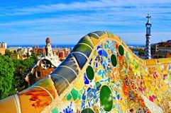 公园Guell在巴塞罗那,西班牙 免版税库存照片
