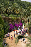Guell Park. Barcelona, Spain - June 2011 - Many tourists walking in Guell Park, Barcelona; a view from above Royalty Free Stock Photos