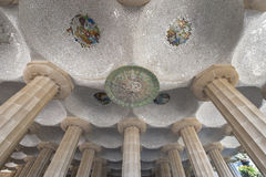 In Guell Park. Architectural fragment from Park Guell by Antonio Gaudi. Barcelona, Spain Stock Photography