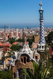 Guell Park Barcelona Catalunia Spain. The curved ceramic blue and white tile roof tower of a building of Guell Park. Barcelona, Catalunia, Spain royalty free stock image