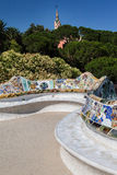 Guell Park Barcelona Catalunia Spain. The curved colorful ceramic tile benches of Guell Park. Barcelona, Catalunia, Spain royalty free stock photos