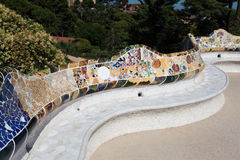 Guell Park Barcelona Catalunia Spain. The curved ceramic colorful tile benches of Guell Park. Barcelona, Catalunia, Spain royalty free stock photography