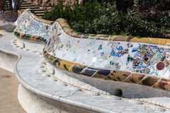 Guell Park Barcelona Catalunia Spain. The curved ceramic blue and white tile benches of Guell Park. Barcelona, Catalunia, Spain royalty free stock image