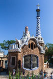 Guell Park Barcelona Catalunia Spain. The curved ceramic tile roof tower of a stone building of Guell Park. Barcelona, Catalunia, Spain royalty free stock photography