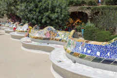 Guell Park Barcelona Catalunia Spain. The curved ceramic blue and white tile benches of Guell Park. Barcelona, Catalunia, Spain royalty free stock photography