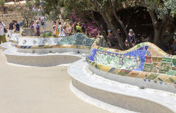 Guell Park Barcelona Catalunia Spain. The curved ceramic blue and white tile benches of Guell Park. Barcelona, Catalunia, Spain royalty free stock images