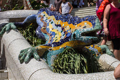 Guell Park Barcelona Catalunia Spain. The curved ceramic tile lizzard fountain in Guell Park. Barcelona, Catalunia, Spain stock photos