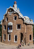 Guell Park Barcelona Catalunia Spain. The curved ceramic tile roof and a tower of a building of Guell Park. Barcelona, Catalunia, Spain stock photography