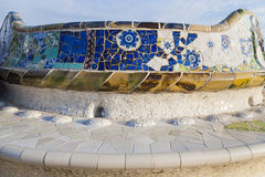 Guell Park in Barcelona. Colorful mosaic bench of Gaudi. Guell Park in Barcelona stock photos