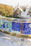 Guell Park in Barcelona. Colorful mosaic bench of Gaudi. Guell Park in Barcelona stock images