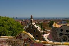 Guell park i Barcelona, arkitektur av Gaudi Fotografering för Bildbyråer