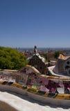 Guell park i Barcelona, arkitektur av Gaudi Arkivfoto