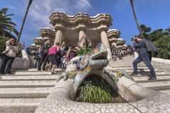 In Guell Park. The main ladder in Park Guell by Antonio Gaudi. Barcelona, Spain Royalty Free Stock Photography
