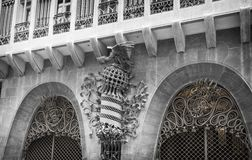 Guell宫殿由Gaudi设计了,在巴塞罗那 库存图片
