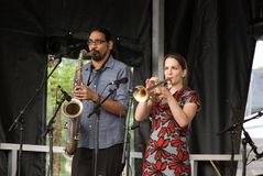 The Guelph Jazz Festival. Rebecca Hennessy(trumpet) and Marcus Ali(saxophone) of the Drumhand Band, saturday September 7, at The Guelph Jazz festival, carden stock photos
