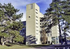 GUELPH, ONTARIO, CANADA - MARCH 15, 2016: View of Guelph Univers. Ity campus buildings with a blend of modern and traditional architecture royalty free stock photography