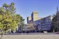 GUELPH, ONTARIO, CANADA - MARCH 15, 2016: View of Guelph University campus buildings with a blend of modern and traditional. Architecture royalty free stock images