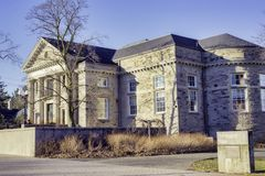 GUELPH, ONTARIO, CANADA - MARCH 15, 2016: View of Guelph Univers. Ity campus buildings with a blend of modern and traditional architecture royalty free stock photo