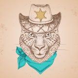 Guepard d'animal de hippie Museau de dessin de main de guepard Photos stock