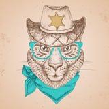 Guepard d'animal de hippie Museau de dessin de main de guepard Photographie stock