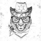Guepard d'animal de hippie Museau de dessin de main de guepard Photographie stock libre de droits