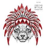 Guepardo en la cucaracha india Tocado indio de la pluma del águila Tienda extrema del deporte Foto de archivo libre de regalías