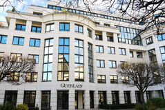 Guerlain Headquarters Offices France. Building of Guerlain headquarters in Levallois-Perret. President Wilson street, Île-de-France, France Royalty Free Stock Images