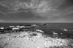 Guernsey coast black and white Royalty Free Stock Images