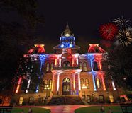 The Guernsey county courthouse Independence Day. royalty free stock images