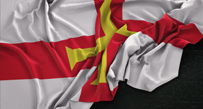 Guernsey Flag Wrinkled On Dark Background 3D Render Royalty Free Stock Photos