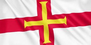 Guernsey flaga falowanie z wiatrem ilustracji
