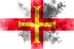 Guernsey grunge flag, United Kingdom dependent territory flag.  Royalty Free Stock Photo