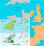 Guernsey map. Map of administrative divisions the Bailiwick of Guernsey Stock Image