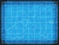 Guernsey map blue print artwork illustration silhouette. Art Royalty Free Stock Photography