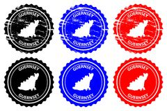 Guernsey rubber stamp. Guernsey - rubber stamp - vector, Bailiwick of Guernsey map pattern - sticker - black, blue and red Royalty Free Stock Images