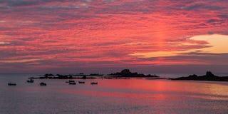 Guernsey-Sonnenuntergang Lizenzfreie Stockfotos